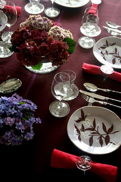 décoration de table avec hortensia